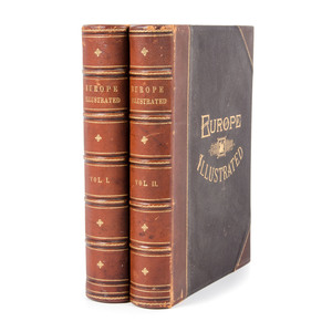 "[Illustrated - 19th C. France, Germany - Engraved Views] Lovely 2 Volume ""Europe Illustrated,"" 1876-79 with  151 Steel Plates"