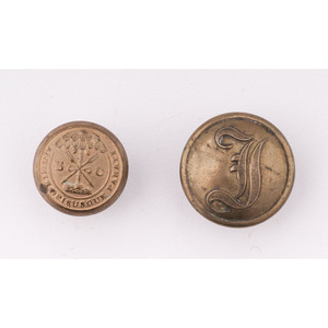 Lot of 2 Civil War Buttons Consisting of 1 Confederate Script Infantry Button and 1 South Carolina State Seal Button