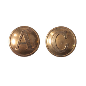 Lot of 2 Civil War Buttons Consisting of 1 Confederate Cavalry Button and 1 Confederate Artillery Button