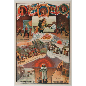 The Klondyke Nugget, S.F. Cody Wild West Show Poster with Vignettes Illustrating Scenes from the Play
