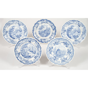 English Transferware Plates with American Scenes