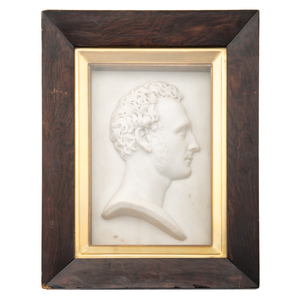 Marble Plaque Profile of J. Ainslie by Lawrence Macdonald (Scottish, 1799-1878)