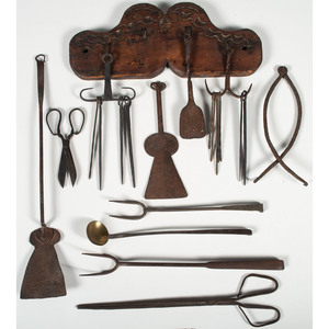 Carved Wooden Rack with Kitchen Tools
