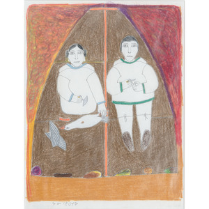 Janet Kigusiuq (Inuit, 1926-2005) Colored Pencil on Paper