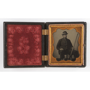 Sixth Plate Tintype of a Hunter, Housed in Ten Dollar Coin Union Case [Berg 1-70G]