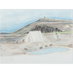 William Noah (Inuit, b. 1943) Colored Pencil and Ink on Paper