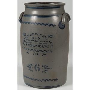 T.F. Reppert Six-Gallon Stoneware Crock