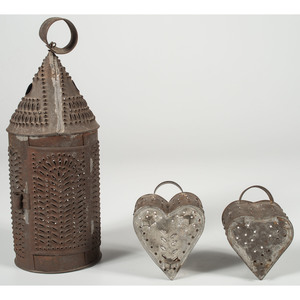 Punched Tin Lantern and Cheese Molds