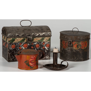 Painted Toleware Boxes and Coffee Pot, Plus