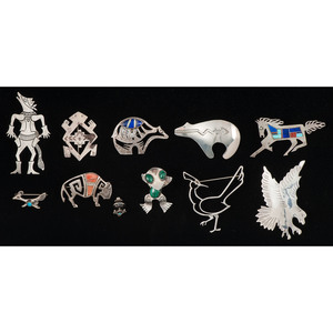 Animal Brooches and Pins in Sterling Silver, Lot of Sixty