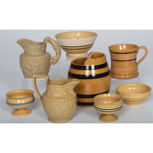 Banded Yellowware and Pitcher
