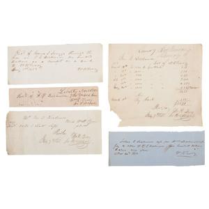 Confederate General William R. Terry Antebellum Merchant Receipt Archive, Lot of 10