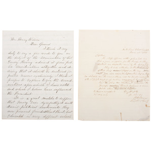 Pair of Important Letters Concerning Colonel William Emory, Incl. the Withdrawal of Troops at Fort Washita, Indian Territory, 1861