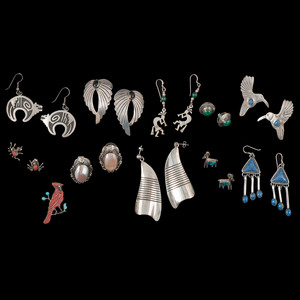 Sterling Silver Southwestern Style Earrings, Lot of  Thirty