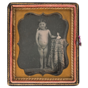 Rare Sixth Plate Daguerreotype of Standing Young Nude