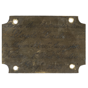 Engraved Plaque for a Cased Lloyds of London Sword Presented to Major Abraham Augustus Nunn