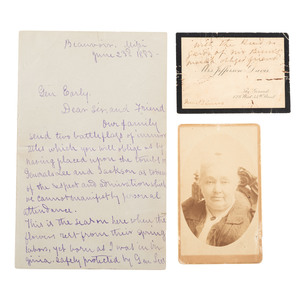 Rare CDV of Varina (Mrs. Jefferson) Davis and Calling Card, Plus ALS to General Early from Winnie Davis