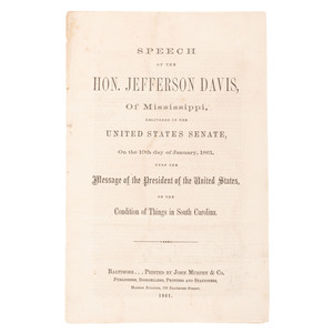 Three Pamphlets with Speeches by or about Jefferson Davis