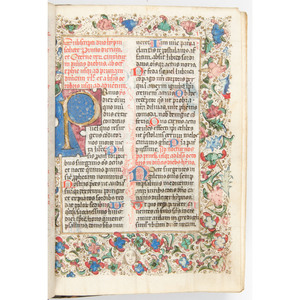 [Illuminated Manuscript - 15th Century] Lovely circa 1475 Double Column 27 Line Breviary With Red, Blue, and Gilt Decorations and Initials on 109 Leaves - Possibly for Franciscan Use