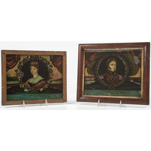 Reverse-Painted Portraits, Charlotte and Leopold