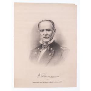 Civil War Lithographs of Union Personalities: Sen. Charles Sumner, Gen. Sherman, and Gen. Halleck