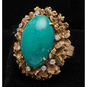 18k Gold Turquoise and Diamond Ring