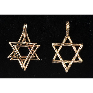 14k Gold Star of David Pendants, Lot of Two