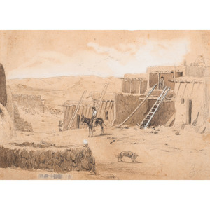 Pencil Drawing of a Zuni Reservation Scene, Style of Peter Moran