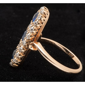 14k Gold Victorian Diamond and Sapphire Ring