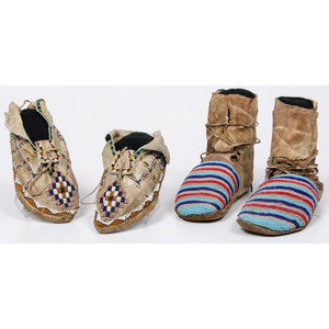 Apache Beaded Hide Moccasins AND Plateau Beaded Hide Moccasins