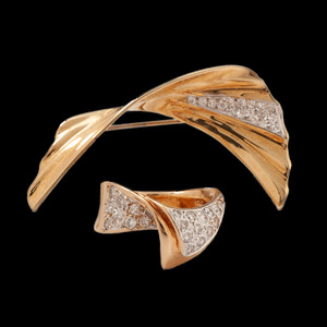 14k Gold Diamond Ring and Brooch