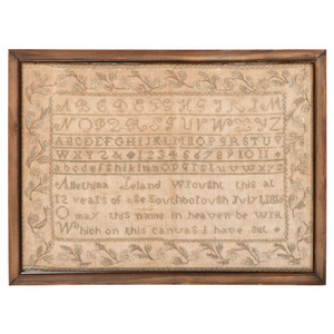 Massachusetts Sampler by Allethina Leland, Dated 1816