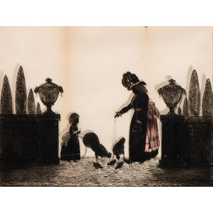 Reverse-Painted Silhouette of Woman and Child Feeding Chickens