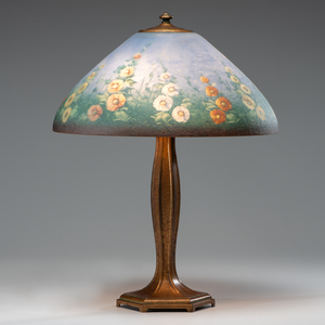 Jefferson Hollyhock Reverse-Painted Lamp
