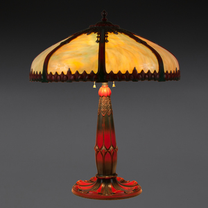 Painted Slag Glass Lamp