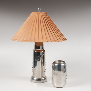 Leon Fontier (American, 20th Century) Pewter Lamp and Vase