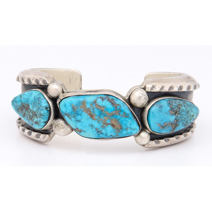 Raymond Bennett (Dine, 20th century) Navajo Sterling Silver and Turquoise Cuff Bracelet