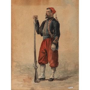 Norval H. Busey, Watercolor of a Standing Zouave