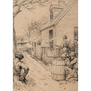 Confederate Sharpshooters, Fredericksburg, Pen and Ink Sketch by Allen C. Redwood, 1886