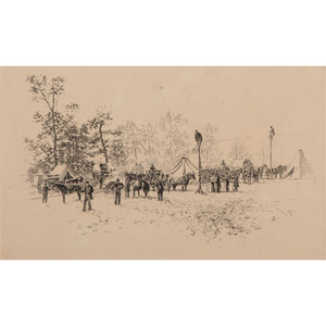 US Military Telegraph Construction Corps, Pen and Ink Sketch by I. Walton Taber After a Photograph by Timothy O'Sullivan