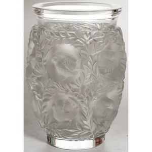 Lalique Vase, Bagatelle Sparrows