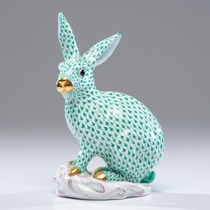 Herend Green Fishnet Rabbit