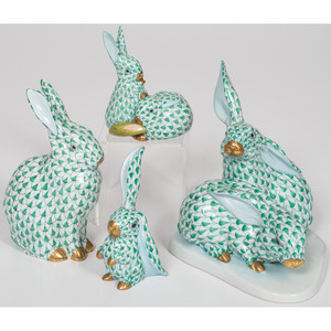Herend Porcelain Green Fishnet Rabbits