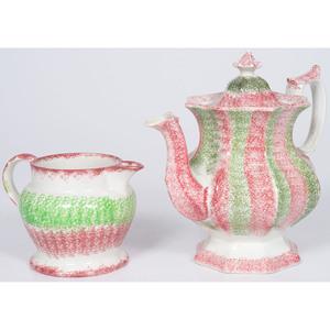 Rainbow Spatterware Coffee Pot and Creamer