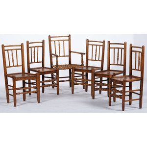 Six Queen Anne Chairs in Mixed Wood