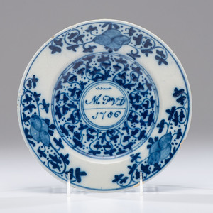 English Delftware Plate, Dated 1706