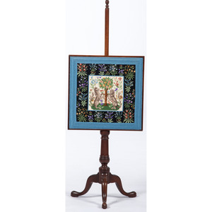Chippendale-style Pole Screen with Contemporary Needlework
