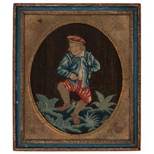 English Needlework Panels of Dancing Men