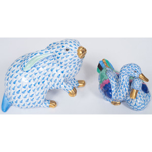 Herend Blue Fishnet Rabbit and Ducks