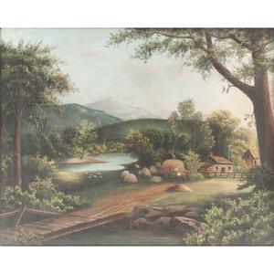American Pastel Landscape, Signed E.M.